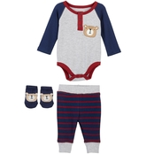 Infant Boys 3 pc. Bodysuit Pants Socks, Bear
