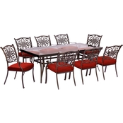 Hanover Traditions 9 pc. Outdoor Dining Set with Rectangular Glass Top Table