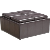 Hodedah Faux Leather Storage Ottoman