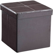 Hodedah Faux Leather Collapsible Storage Ottoman