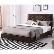 Hodedah Low Profile Upholstered Faux Leather Full Size Platform Bed