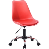 Hodedah Armless Office Chair with Seat Cushion