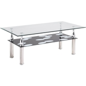 Hodedah Tempered Glass Coffee Table