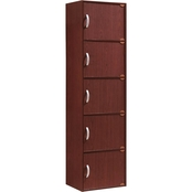Hodedah 5 Door, 5 Shelf Bookcase