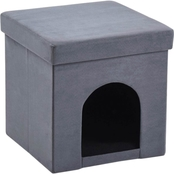 Hodedah Faux Suede Collapsible Pet Ottoman