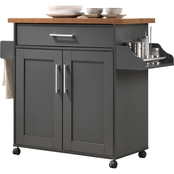 Hodedah Kitchen Island with Spice Rack plus Towel Holder