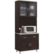 Hodedah Kitchen Cabinet with Top and Bottom Enclosed Cabinet Space