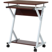 Hodedah Wood Top Laptop Desk on Wheels with Pull Out Keyboard Tray