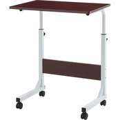 Hodedah Adjustable Height Wood Top Laptop Desk on Wheels