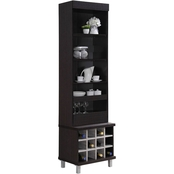 Hodedah Tall Standing Hutch with 5 Shelves, 1 Drawer plus 12 Bottle Wine Holder