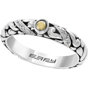 Effy Sterling Silver and 18K Yellow Gold 1/10 CTW Diamond Ring, Size 7