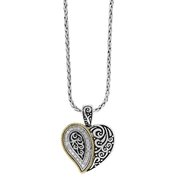 Effy Sterling Silver and 18K Yellow Gold 1/4 CTW Diamond Heart Pendant