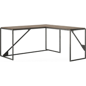 Bush Furniture Refinery 62W L Shaped Industrial Desk with 37W Return