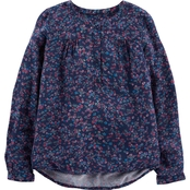 OshKosh B'gosh Little Girls Collarless Floral Shirt