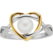 10K Yellow Gold Over Sterling Silver Freshwater Pearl Ring, Size 7