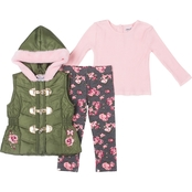 Little Lass Toddler Girls 3 pc. Floral Puffy Vest Set