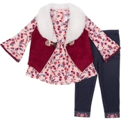 Little Lass Toddler Girls 3 pc. Suede & Sherpa Vest Set