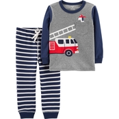 Carter's Toddler Boys Firetruck Stripe Pants and Tee 2 pc. Set