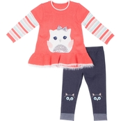 Little Lass Infant Girls 2 pc. Sequin Owl Sweater Set