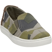 TOMS Boys Burnt Olive Camo Canvas Tiny Luca Slipon