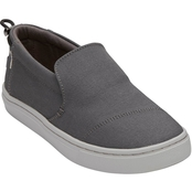 TOMS Boys Forged Iron Grey Textured Canvas Youth Paxton Slipon