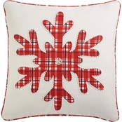Martha Stewart Collection Plaid Snowflake 18 in. Square Decorative Pillow