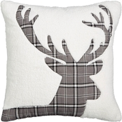 Martha Stewart Collection Plaid Stag Fleece 18 in. Square Decorative Pillow