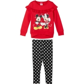 Disney Little Girls Mickey and Minnie 2 pc. Leggings Set