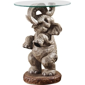 Design Toscano Good Fortune Elephant Glass Topped Table