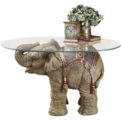 Design Toscano Jaipur Elephant Festival Glass Topped Cocktail Table