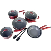 Cooking Light Allure Ceramic Nonstick Cookware 12 pc. Set Red