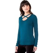 Michael Kors Petite Cross Neck Top