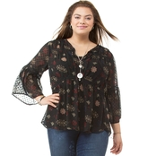 Lucky Brand Plus Size Swiss Dot Floral Top