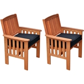 CorLiving Miramar Hardwood Outdoor Armchairs 2 pk.