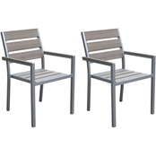 CorLiving Gallant Sun Bleached Grey Outdoor Dining Chair 2 pk.