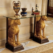 Design Toscano Royal Egyptian Cheetahs Sculptural Glass Topped Console