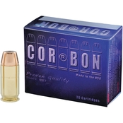 CORBON .45 ACP 165 Gr. Jacketed Hollow Point +P, 20 Rounds