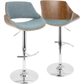 LumiSource Fabrizzi Mid Century Modern Adjustable Barstool with Swivel