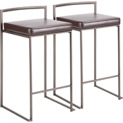 LumiSource Fuji Antique Frame Faux Leather Stacker Counter Stool 2 pk.