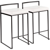 LumiSource Fuji Black Frame Faux Leather Stacker Counter Stool 2 pk.
