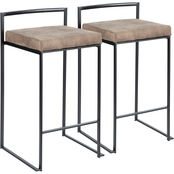 LumiSource Fuji Antique Frame Fabric Cushion Stacker Counter Stool 2 pk.