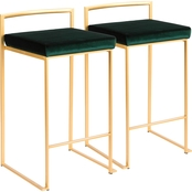 LumiSource Fuji Goldtone Frame Faux Leather Stacker Counter Stool 2 pk.