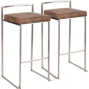 LumiSource Fuji Contemporary Stackable Barstool 2 pk.