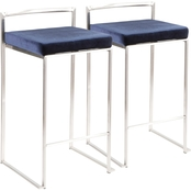 LumiSource Fuji Stainless Steel Velvet Cushion Stacker Counter Stool 2 pk.