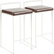 LumiSource Fuji White Frame Faux Leather Stacker Counter Stool 2 pk