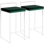 LumiSource Fuji White Frame Velvet Cushion Stacker Counter Stool 2 pk.