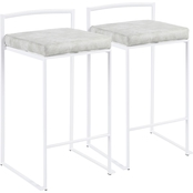 LumiSource Fuji White Frame Fabric Cushion Stacker Counter Stool 2 pk.
