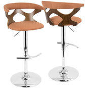 LumiSource Gardenia Mid Century Modern Adjustable Barstool with Swivel