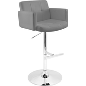 LumiSource Stout Adjustable Faux Leather Barstool