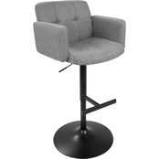 LumiSource Stout Adjustable Fabric Barstool